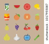 icons fruits and vegetables... | Shutterstock .eps vector #1017955087