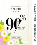 spring sale background with...   Shutterstock .eps vector #1017959953