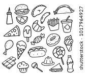 doodle food set  vector | Shutterstock .eps vector #1017964927