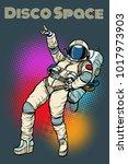 astronaut woman dancing disco.... | Shutterstock .eps vector #1017973903