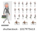 set of business woman showing... | Shutterstock .eps vector #1017975613