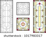 abstract geometric floral... | Shutterstock .eps vector #1017983317
