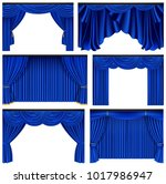 set of blue luxury curtains and ... | Shutterstock .eps vector #1017986947
