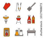 barbecue color icons set. bbq.... | Shutterstock .eps vector #1017988873