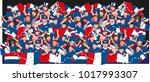 soccer fans cheering | Shutterstock .eps vector #1017993307