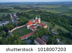 aerial view on pilgrimage... | Shutterstock . vector #1018007203