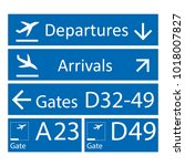 blue and white airport signs... | Shutterstock .eps vector #1018007827