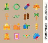 icons egypt with hieroglyph ... | Shutterstock .eps vector #1018007863