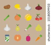 icons fruits and vegetables... | Shutterstock .eps vector #1018009933