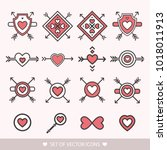 set decorative red icon for... | Shutterstock .eps vector #1018011913