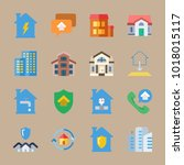 icons real estate with real... | Shutterstock .eps vector #1018015117