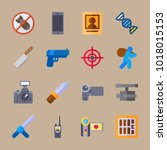 icons crime investigation with... | Shutterstock .eps vector #1018015153