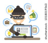 thief with laptop trying to... | Shutterstock .eps vector #1018019563