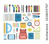 school stationary set. pens and ... | Shutterstock .eps vector #1018019707