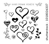 hand drawn hearts collection.... | Shutterstock .eps vector #1018026337