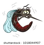 funny scared cartoon mosquito.... | Shutterstock .eps vector #1018044907