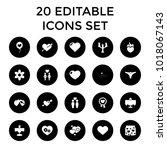 romantic icons. set of 20... | Shutterstock .eps vector #1018067143