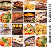 collage of restaurant dishes | Shutterstock . vector #1018068553