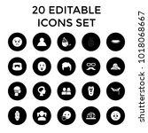 face icons. set of 20 editable...