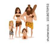 caveman family design concept...   Shutterstock .eps vector #1018070953