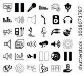 audio icons. set of 36 editable ... | Shutterstock .eps vector #1018071787