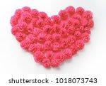 heart from roses  handmade...   Shutterstock . vector #1018073743