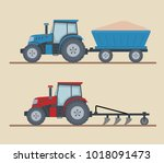 two farm tractors isolated on... | Shutterstock .eps vector #1018091473