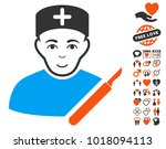 surgeon pictograph with bonus... | Shutterstock .eps vector #1018094113