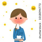 female worker  hay fever | Shutterstock .eps vector #1018094773