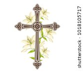 silhouette of ornate cross with ... | Shutterstock .eps vector #1018105717
