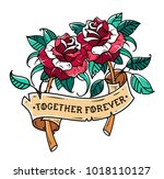 tattoo two red roses with... | Shutterstock .eps vector #1018110127