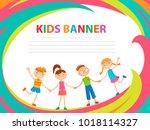 happy children run on the... | Shutterstock .eps vector #1018114327