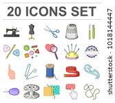 sewing  atelier cartoon icons... | Shutterstock . vector #1018144447