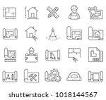 simple set of blueprint related ... | Shutterstock .eps vector #1018144567