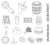 pub  interior and equipment... | Shutterstock . vector #1018145647
