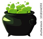 witches cauldron with green... | Shutterstock .eps vector #1018146553
