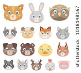 muzzles of animals cartoon... | Shutterstock . vector #1018148167