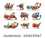 set of cartoon retro space... | Shutterstock .eps vector #1018153567
