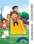 a vector illustration of kids... | Shutterstock .eps vector #1018154587