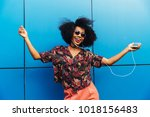 charming amazing afro american... | Shutterstock . vector #1018156483