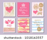 happy  valentine's day. set of... | Shutterstock .eps vector #1018163557
