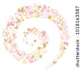 rose gold flying hearts vector... | Shutterstock .eps vector #1018163587
