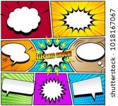 comic book page background with ...   Shutterstock .eps vector #1018167067