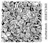 cartoon vector doodles space... | Shutterstock .eps vector #1018171363
