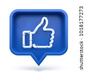 set thumbs up icon on a blue... | Shutterstock . vector #1018177273