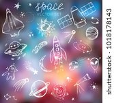 space themed doodle set.... | Shutterstock .eps vector #1018178143