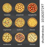 set of different doodle colored ... | Shutterstock .eps vector #1018207297