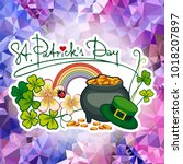 holiday label with shamrock ... | Shutterstock .eps vector #1018207897