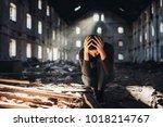sad depressed person in... | Shutterstock . vector #1018214767