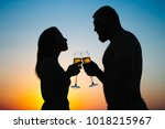 silhouettes of man and woman ... | Shutterstock . vector #1018215967